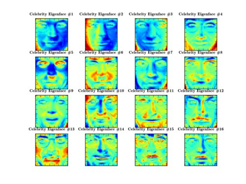 The first 16 Eigenfaces of the Celebrity Dataset